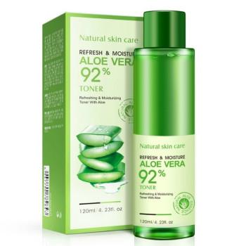 Освіжаючий і зволожуючий тонер Bioaqua Refresh and moisture aloe vera для особи алое вера 92% 120 мл