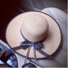 Большая соломенная  шляпа с бантом и окантовкой CENI A26401 - Beige