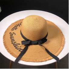 Большая соломенная женская шляпа с бантом Hello Sunshine A27403 - Beige