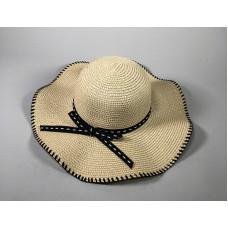 Большая соломенная  шляпа с бантом и строчкой - A25209 Light Beige