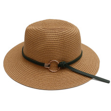 Жіноча солом'яний шапка з пряжкою Jazz HandMade - Beige A27319