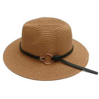 Женская соломенная шапка с пряжкой Jazz HandMade - Beige A27319
