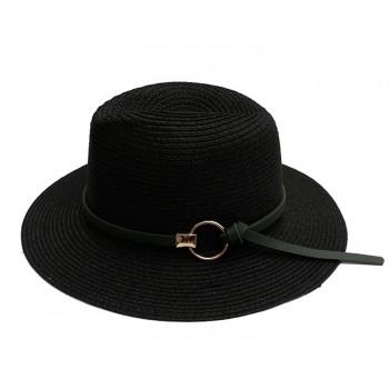 Женская соломенная шапка с пряжкой Jazz HandMade - Black A27319