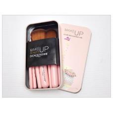 Набір кистей в металевій коробці слон рожевий Bioaqua Make UP Beauty Elephant Pink BQY8214 7шт