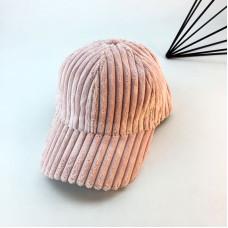 Женская вельветовая кепка - бейсболка осенняя  VELVET -  Pink