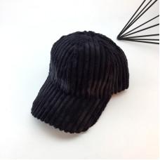 Женская вельветовая кепка - бейсболка осенняя  VELVET -  Black