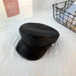 Женская кепи - кепка BLACK 4359 Черная Эко кожа