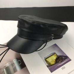 Женская кепи - кепка BLACK 994832 Черная Эко кожа