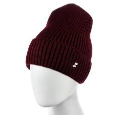 Теплая женская шапка  - однотонная Bordeaux chrm-zh-52BR Бордовая