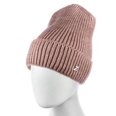 Теплая женская шапка  - однотонная Pink chrm-zh-52P Розовая