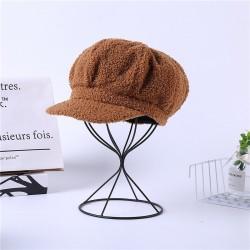 Женская кепи - кепка  плюшевая PLUSH chrm-Y-520008 Коричневая