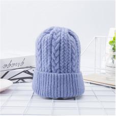 Теплая женская шапка  - однотонная QUEUE chrm-Y-109006  Голубая