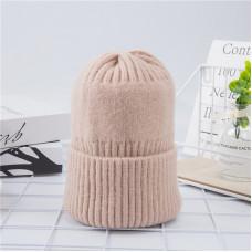 Теплая женская шапка  - однотонная chrm-Y-102569  Бежевая