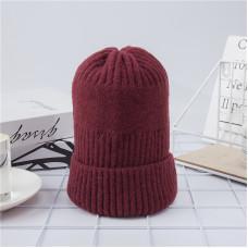 Теплая женская шапка  - однотонная chrm-Y-102569  Бургундия