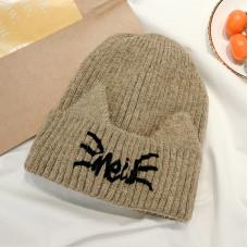 Теплая женская шапка  - однотонная Cat Shape chrm-Y-52003 Хаки