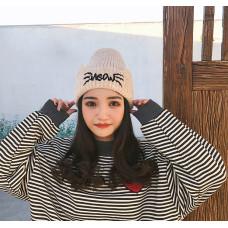 Теплая женская шапка  - однотонная Cat Shape chrm-Y-52003 Бежевая