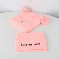 Детский комплект шапка + шарфик  - однотонный Love me more M-70080 Розовый