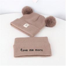 Детский комплект шапка + шарфик  - однотонный Love me more M-70080 Коричневый