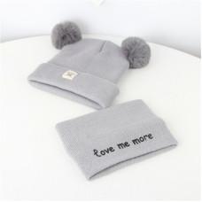 Детский комплект шапка + шарфик  - однотонный Love me more M-70080 Серый