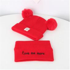 Детский комплект шапка + шарфик  - однотонный Love me more M-70080 Красный