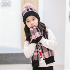 Детский комплект шапка + шарфик  - Nordic style  M-195300260 Розовый