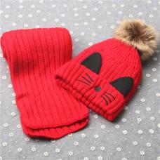 Детский комплект шапка + шарфик  - однотонный Kitty M-17 Красный