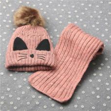 Детский комплект шапка + шарфик  - однотонный Kitty M-17 Розовый