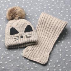 Детский комплект шапка + шарфик  - однотонный Kitty M-17 Бежевый