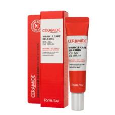 Антивікова розслаблююча сироватка для шкіри навколо очей з церамідамі FarmStay Ceramide Wrinkle Care Relaxing Rolling Eye Serum, 25мл