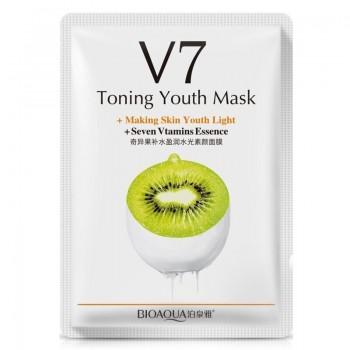 Тканевая маска для лица тонизирующая витаминная с экстрактом киви Bioaqua V7 Toning Youth Mask + Seven Vitamins Essence BQY9262