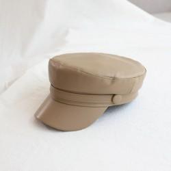 Женская кепи - кепка Leather chrm-1668 Beige