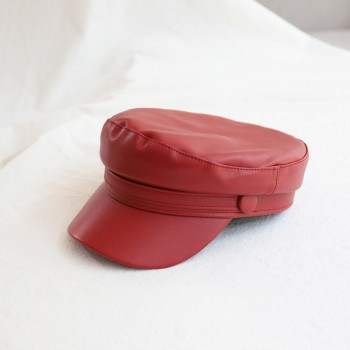 Женская кепи - кепка Leather chrm-1668 Red