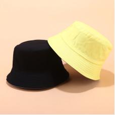 Двухсторонняя однотонная панама  Simple Light Yellow YFM460 унисекс