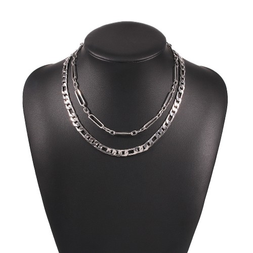 Колье цепь двойная из металла N8167 Silver 42 см + 47 см