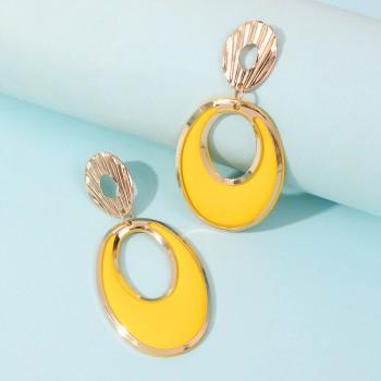 Круглые сережки - гвоздики 2Round E9283 Yellow