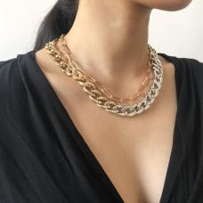 Колье цепь двойная двухцветная из металла N8140 Silver/Gold 42 см + 45 см