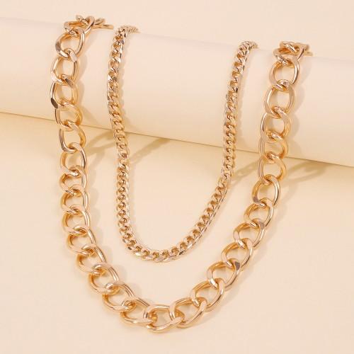 Колье цепь двойная из металла N7978 Gold 46 см + 48 см