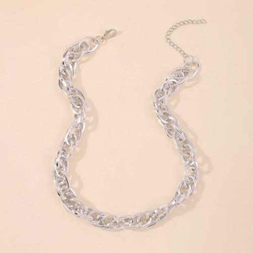 Колье цепь из металла с массивным плетением N7971 Silver 48 см
