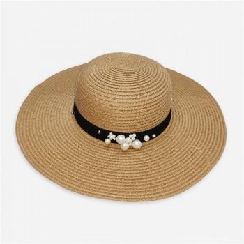 Большая соломенная шляпа A2741471 с бусинками - Beige