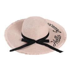 Большая соломенная женская шляпа с бантом Hello Sunshine A27403 - Pink