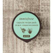 Увлажняющая маска с экстрактом алоэ и семян торреи Innisfree Capsule Recipe Pack Bija and Aloe 10 мл