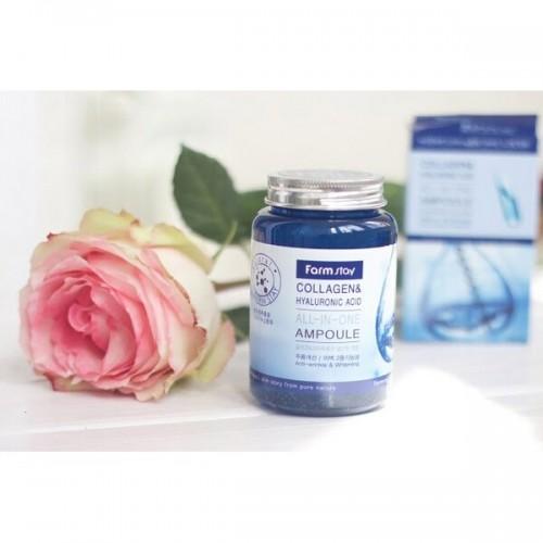 Ампульная сироватка з колагеном і гіалуронової кислотою FARM STAY Collagen & Hyaluronic Acid All-In-One Ampoule 250 мл