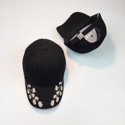 Стильная женская кепка - бейсболка RETRO с цветочками Black