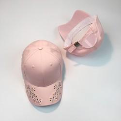 Стильная женская кепка - бейсболка RETRO с цветочками Pink
