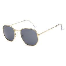 Женские солнцезащитные очки Photometric Grey Lens - №3548 Gold Polygon Retro Style