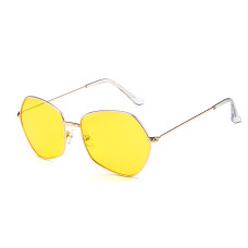 Женские солнцезащитные очки Photometric Yellow Lens - №7047 Gold Polygon Retro Style