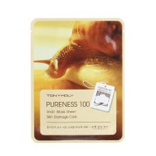 Листовая маска Tony Moly Pureness 100 Mask Sheet Snail фильтрат секреции улитки